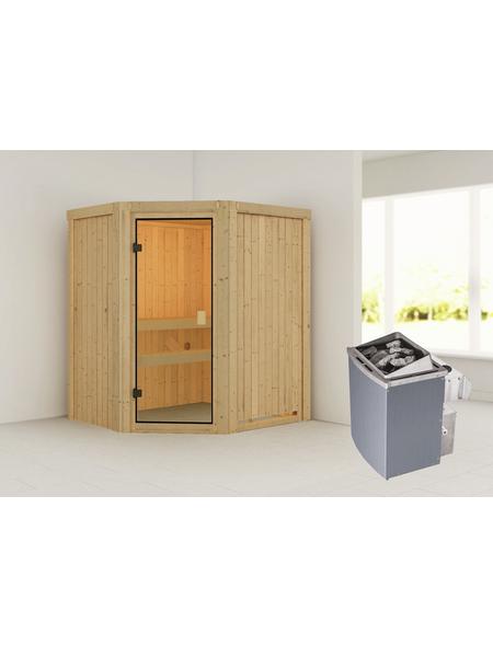 WOODFEELING Sauna »Faurin«, BxTxH: 170 x 151 x 151 cm, 9 kw, Saunaofen, int. Steuerung