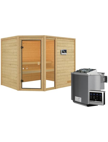 WOODFEELING Sauna »Fjella«, inkl. 4.5 kW Bio-Kombi-Saunaofen mit externer Steuerung für 4 Personen