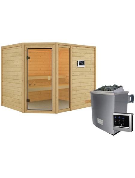 WOODFEELING Sauna »Fjella«, inkl. 4.5 kW Saunaofen mit externer Steuerung für 4 Personen