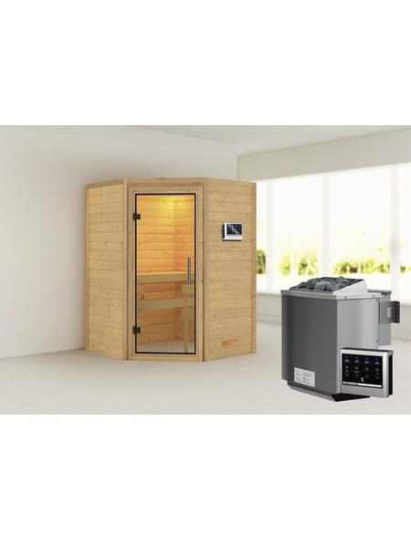WOODFEELING Sauna »Franka«, BxTxH: 146 x 146 x 146 cm, 9 kw, Bio-Kombi-Saunaofen, ext. Steuerung