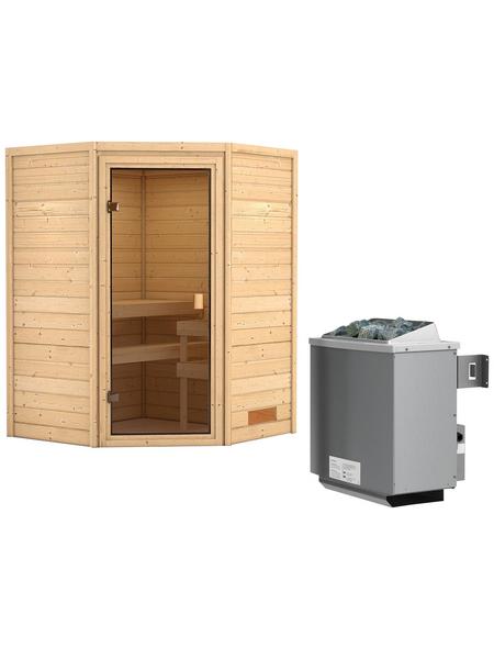 WOODFEELING Sauna »Franka«, BxTxH: 146 x 146 x 146 cm, 9 kw, Saunaofen, int. Steuerung