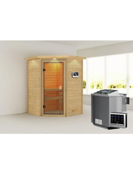 WOODFEELING Sauna »Franka«, BxTxH: 174 x 160 x 160 cm, 9 kw, Bio-Kombi-Saunaofen, ext. Steuerung