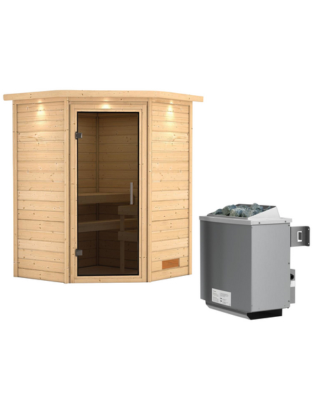 WOODFEELING Sauna »Franka«, BxTxH: 174 x 160 x 160 cm, 9 kw, Saunaofen, int. Steuerung