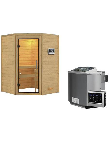 WOODFEELING Sauna »Franka«, inkl. 9 kW Bio-Kombi-Saunaofen mit externer Steuerung für 3 Personen