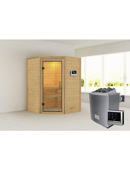 WOODFEELING Sauna »Franka«, inkl. 9 kW Saunaofen mit externer Steuerung für 3 Personen