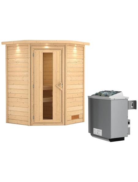WOODFEELING Sauna »Franka«, inkl. 9 kW Saunaofen mit integrierter Steuerung für 3 Personen