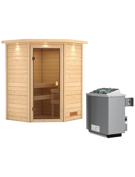 WOODFEELING Sauna »Franka«, mit Ofen, integrierte Steuerung