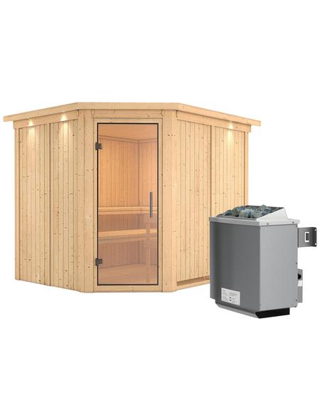 KARIBU Sauna »Haaspsalu«, BxTxH: 245 x 210 x 210 cm, 9 kw, Saunaofen, int. Steuerung