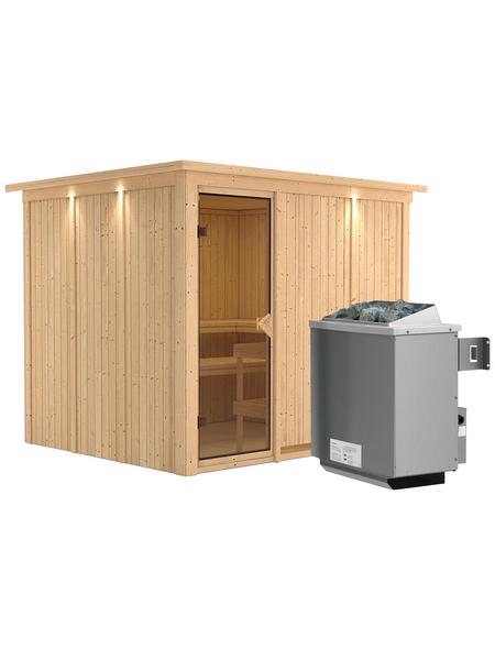 KARIBU Sauna »Jöhvi«, inkl. 9 kW Saunaofen mit integrierter Steuerung für 4 Personen