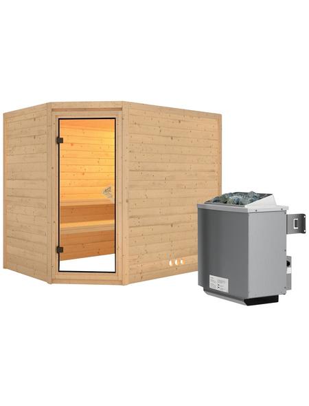 KARIBU Sauna »Kärdla«, BxTxH: 236 x 184 x 184 cm, 9 kw, Saunaofen, int. Steuerung