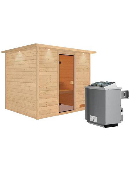 WOODFEELING Sauna »Karla«, BxTxH: 259 x 210 x 210 cm, 9 kw, Saunaofen, int. Steuerung