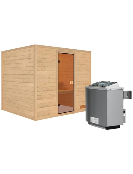 WOODFEELING Sauna »Karla«, inkl. 9 kW Saunaofen mit integrierter Steuerung für 3 Personen