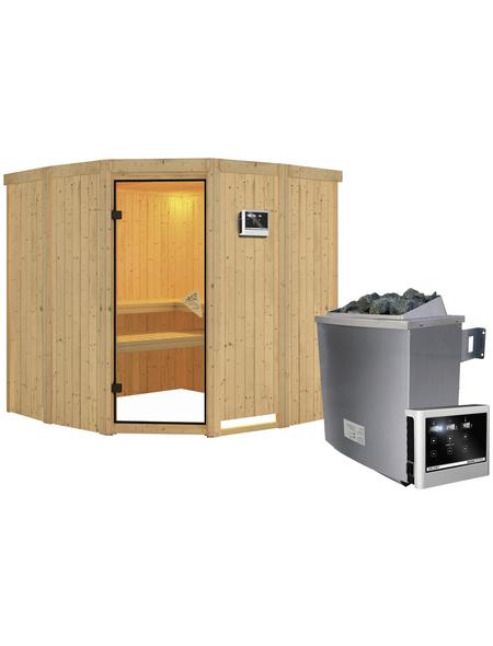 KARIBU Sauna »Keila 1«, inkl. 9 kW Saunaofen mit externer Steuerung für 4 Personen