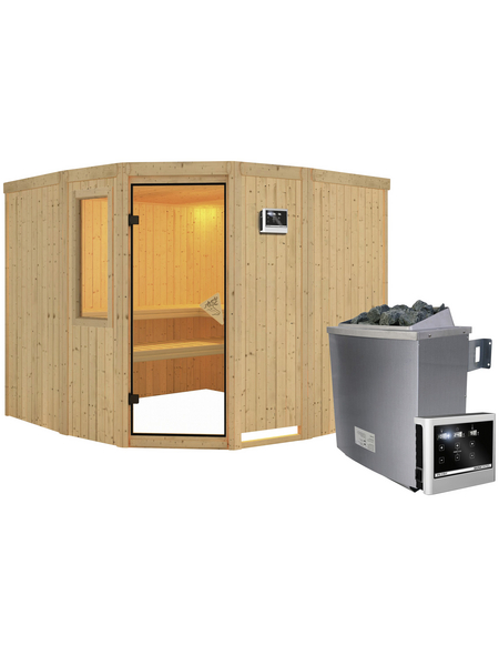 KARIBU Sauna »Keila 3«, BxTxH: 231 x 231 x 231 cm, 9 kw, Saunaofen, ext. Steuerung