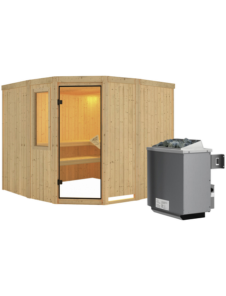 KARIBU Sauna »Keila«, mit Ofen, integrierte Steuerung