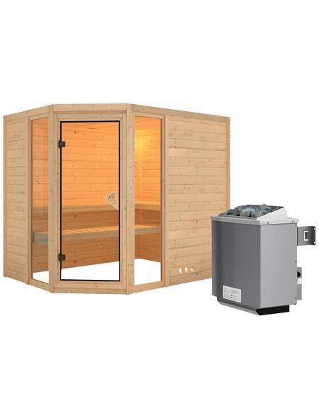 KARIBU Sauna »Kohila 3«, BxTxH: 236 x 184 x 184 cm, 9 kw, Saunaofen, int. Steuerung