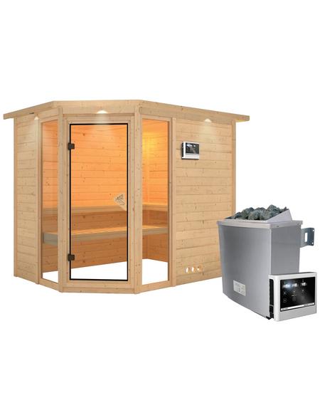 KARIBU Sauna »Kohila 3«, BxTxH: 264 x 198 x 198 cm, 9 kw, Saunaofen, ext. Steuerung