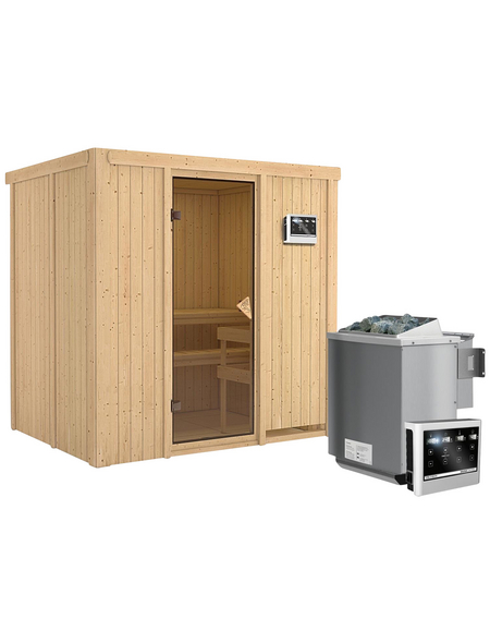 KARIBU Sauna »Kothla«, inkl. 9 kW Bio-Kombi-Saunaofen mit externer Steuerung für 3 Personen