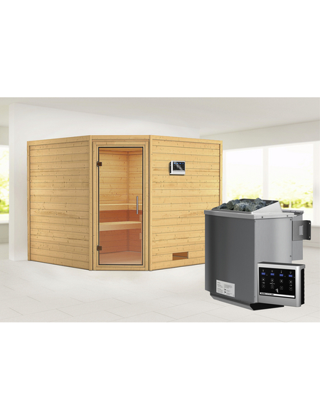 WOODFEELING Sauna »Leona«, BxTxH: 231 x 231 x 231 cm, 9 kw, Bio-Kombi-Saunaofen, ext. Steuerung