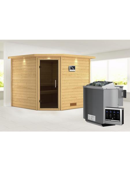 WOODFEELING Sauna »Leona«, BxTxH: 259 x 245 x 245 cm, 9 kw, Bio-Kombi-Saunaofen, ext. Steuerung