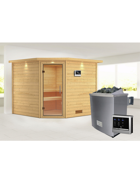 WOODFEELING Sauna »Leona«, BxTxH: 259 x 245 x 245 cm, 9 kw, Saunaofen, ext. Steuerung