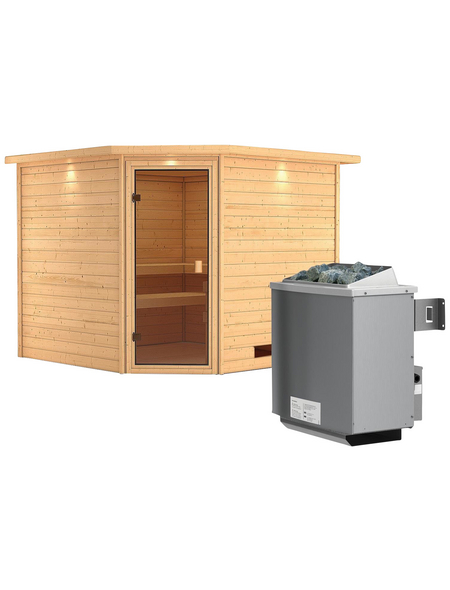 WOODFEELING Sauna »Leona«, BxTxH: 259 x 245 x 245 cm, 9 kw, Saunaofen, int. Steuerung
