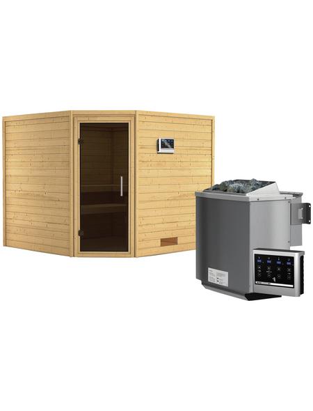 WOODFEELING Sauna »Leona«, inkl. 9 kW Bio-Kombi-Saunaofen mit externer Steuerung für 4 Personen