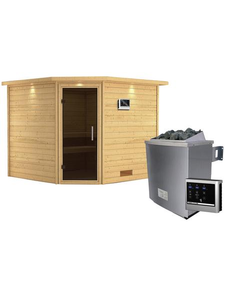 WOODFEELING Sauna »Leona«, inkl. 9 kW Saunaofen mit externer Steuerung für 4 Personen
