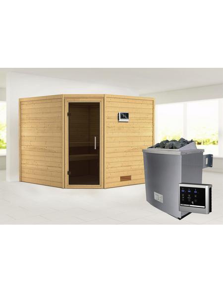 WOODFEELING Sauna »Leona« inkl. 9 kW Saunaofen mit externer Steuerung für 4 Personen