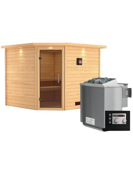 WOODFEELING Sauna »Leona«, mit Ofen, externe Steuerung