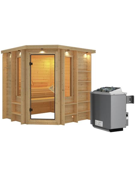 KARIBU Sauna »Libau«, inkl. 9 kW Saunaofen mit integrierter Steuerung für 3 Personen