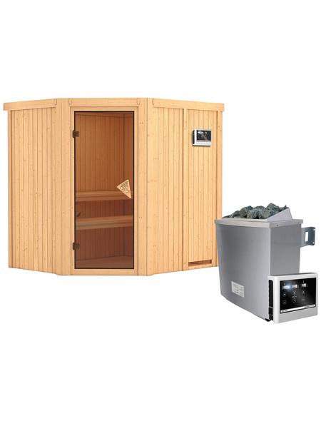 KARIBU Sauna »Maardu«, BxTxH: 196 x 170 x 170 cm, 9 kw, Saunaofen, ext. Steuerung