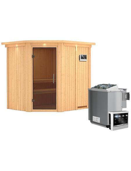 KARIBU Sauna »Maardu«, BxTxH: 210 x 184 x 184 cm, 9 kw, Bio-Kombi-Saunaofen, ext. Steuerung