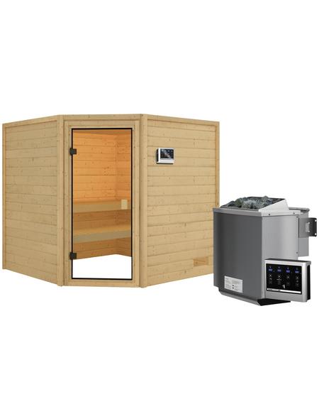 WOODFEELING Sauna »Maline«, inkl. 4.5 kW Bio-Kombi-Saunaofen mit externer Steuerung für 4 Personen