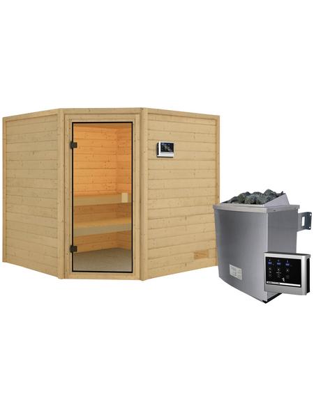 WOODFEELING Sauna »Maline«, inkl. 4.5 kW Saunaofen mit externer Steuerung für 4 Personen