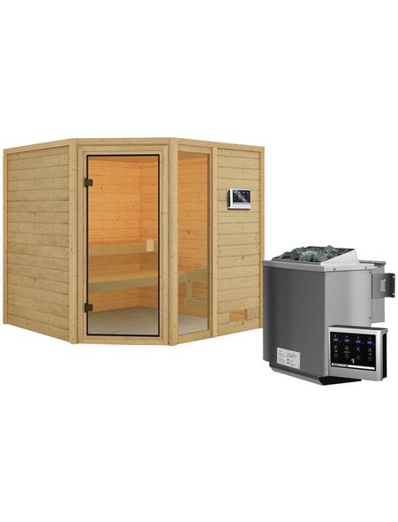 WOODFEELING Sauna »Malyn«, inkl. 4.5 kW Bio-Kombi-Saunaofen mit externer Steuerung für 4 Personen