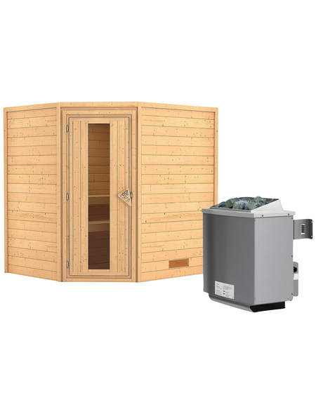 WOODFEELING Sauna »Mia«, BxTxH: 196 x 170 x 170 cm, 9 kw, Saunaofen, int. Steuerung