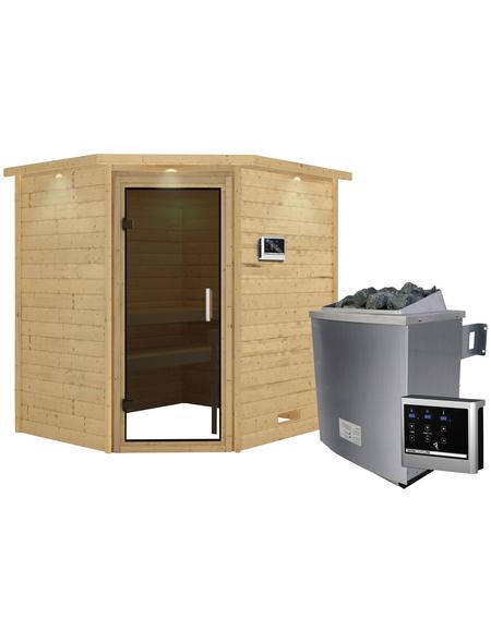 WOODFEELING Sauna »Mia«, BxTxH: 224 x 184 x 184 cm, 9 kw, Saunaofen, ext. Steuerung
