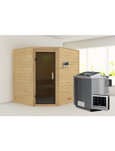 WOODFEELING Sauna »Mia«, inkl. 9 kW Bio-Kombi-Saunaofen mit externer Steuerung für 3 Personen