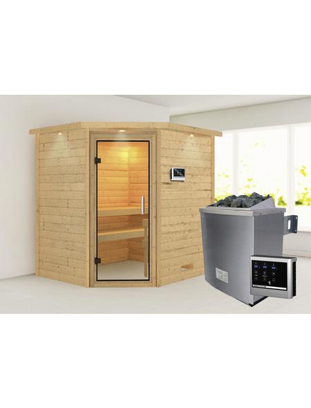 WOODFEELING Sauna »Mia«, inkl. 9 kW Saunaofen mit externer Steuerung für 3 Personen