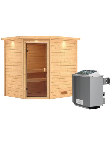 WOODFEELING Sauna »Mia«, mit Ofen, integrierte Steuerung
