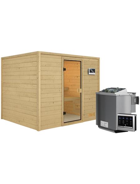 WOODFEELING Sauna »Midja«, inkl. 4.5 kW Bio-Kombi-Saunaofen mit externer Steuerung für 4 Personen