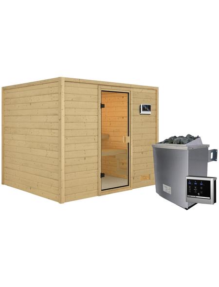 WOODFEELING Sauna »Midja«, inkl. 4.5 kW Saunaofen mit externer Steuerung für 4 Personen