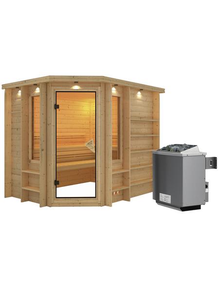 KARIBU Sauna »Mitau«, BxTxH: 264 x 198 x 198 cm, 9 kw, Saunaofen, int. Steuerung