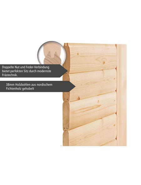 WOODFEELING Sauna »Monnja«, BxTxH: 230 x 195 x 195 cm, 4,5 kw, Bio-Kombi-Saunaofen, ext. Steuerung