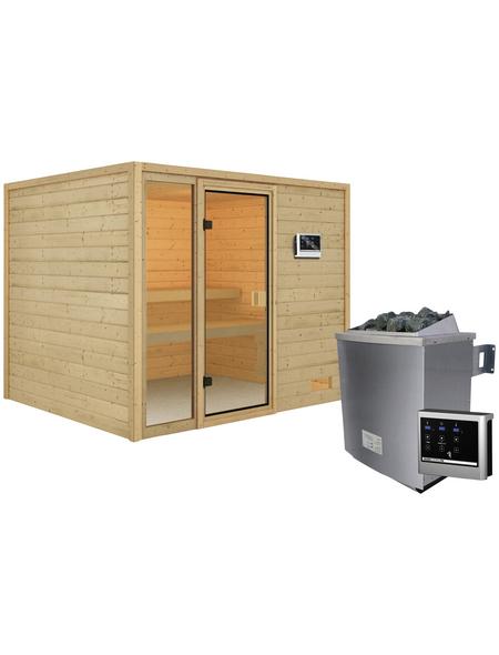 WOODFEELING Sauna »Monnja«, BxTxH: 231 x 196 x 196 cm, 4,5 kw, Saunaofen, ext. Steuerung