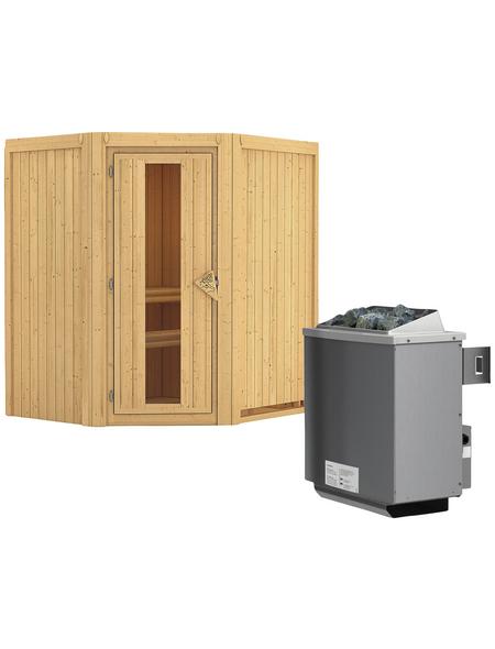 KARIBU Sauna »Narva«, BxTxH: 170 x 151 x 151 cm, 9 kw, Saunaofen, int. Steuerung