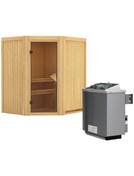 KARIBU Sauna »Narva«, inkl. 9 kW Saunaofen mit integrierter Steuerung für 3 Personen