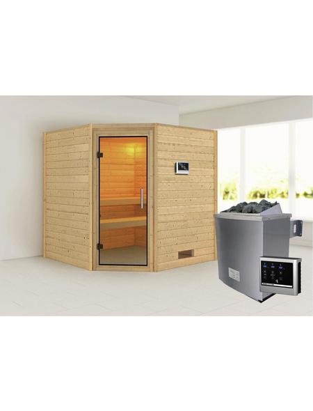 WOODFEELING Sauna »Nina«, BxTxH: 196 x 196 x 196 cm, 9 kw, Saunaofen, ext. Steuerung