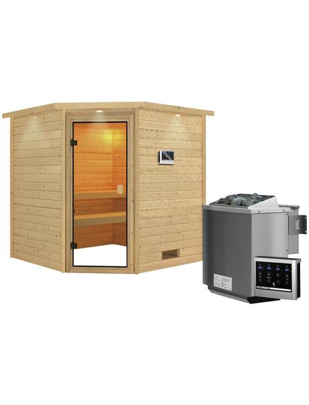 WOODFEELING Sauna »Nina«, BxTxH: 224 x 210 x 210 cm, 9 kw, Bio-Kombi-Saunaofen, ext. Steuerung